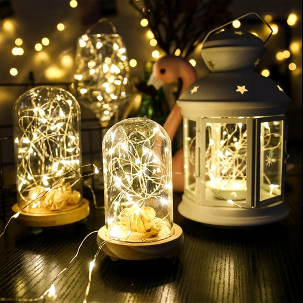 1m 2m 5m 10m 20m copper silver wire led string fairy lights holiday lighting for christmas tree garland wedding party decoration 2M 5M 10M LED Copper Silver Wire LED String Lights Waterproof Holiday Lighting For Fairy Christmas Tree Wedding Party Decoration