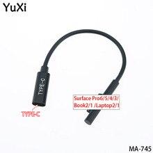 YuXi USB Tipo C Femmina A PD Adattatore di Alimentazione Cavo di Ricarica Per Microsoft Superficie Pro6/5/4/3 book2/1 Go/Laptop2/1