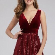 Une liquidation vente bourgogne robes de soirée col en v velours séquine robes formelles a-ligne femmes élégantes robes de soirée