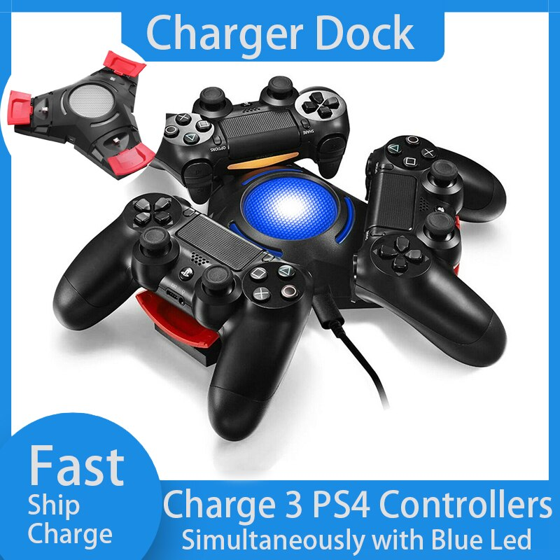 Base de carga rápida con controlador, estación de carga con 3 puertos USB para Sony Playstation 4 PS4 / PS4 Pro /PS4 Slim Controller