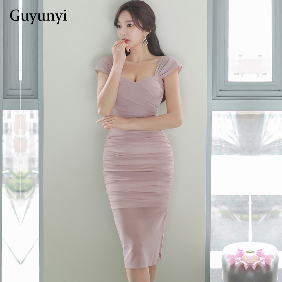 Женское офисное платье розового цвета в Корейском стиле с высокой талией, Простые Вечерние платья с квадратным воротником, лето 2020