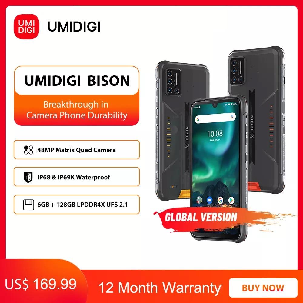 UMIDIGI BISON IP68/IP69K Waterproof Rugged Phone 48MP Matrix Quad Camera 6.3'' FHD+ Display 6GB+128GB NFC Android 10 Smartphone