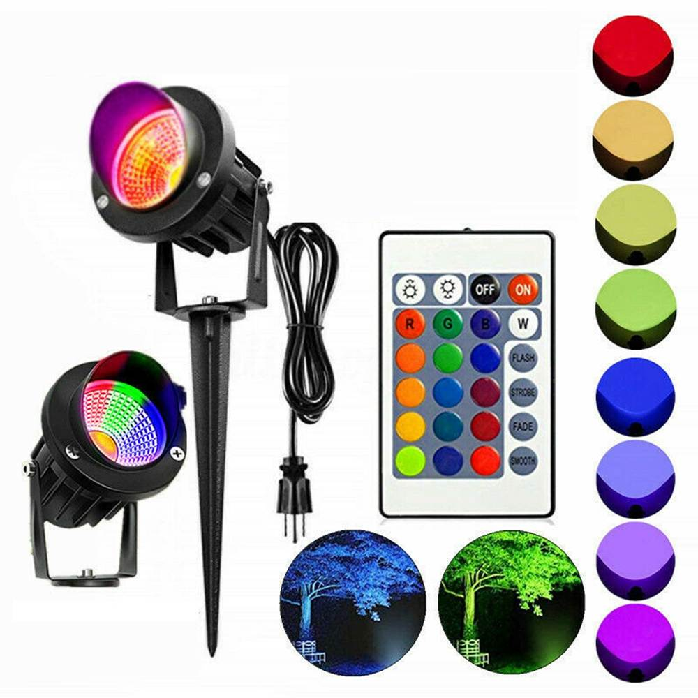 20W RGB garden Light projector LED Lawn with remote Waterproof IP65 Outdoor Landscape Spot Lamp AC85-265V EU/US Plug
