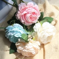 hight quality silk flower european 1 branch artificial flowers fall vivid peony fake leaf wedding home party decoration