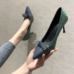High Heeled Shoes Women Bow Pumps Shoes 8cm Pointed Heel Female Luxury Brand High Quality Women Shoes High Heel