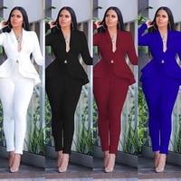 New Women Winter Women\'s Set Tracksuit Full Sleeve Ruffles Blazers Pencil Pants Suit Two Piece Set Office Lady Outfits Uniform