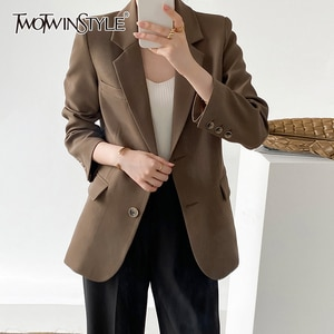 TWOTWINSTYLE Casual Blazer Coats For Female Lapel Collar Long Sleeve High Waist Loose Solid Color Women's Casual Coat New 2021