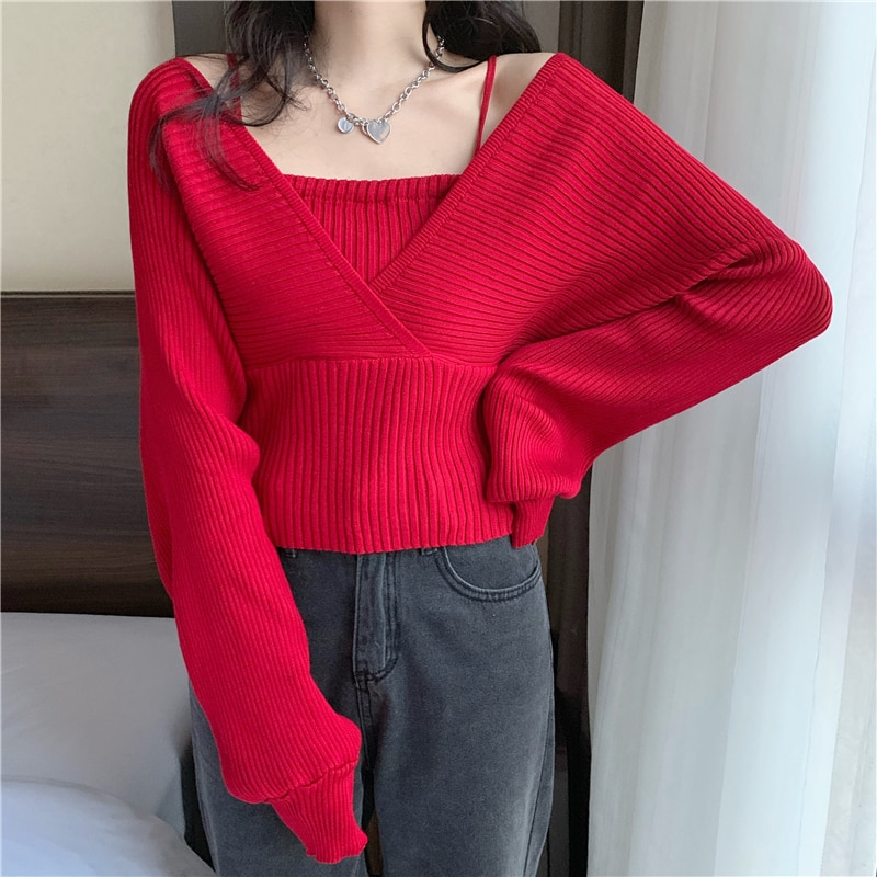 knitted checked tank top Korean Style Knitted Sweater Tank Top Square Neck Casual Fake Two-Piece Solid Women Thin Camisole Short Crop Top