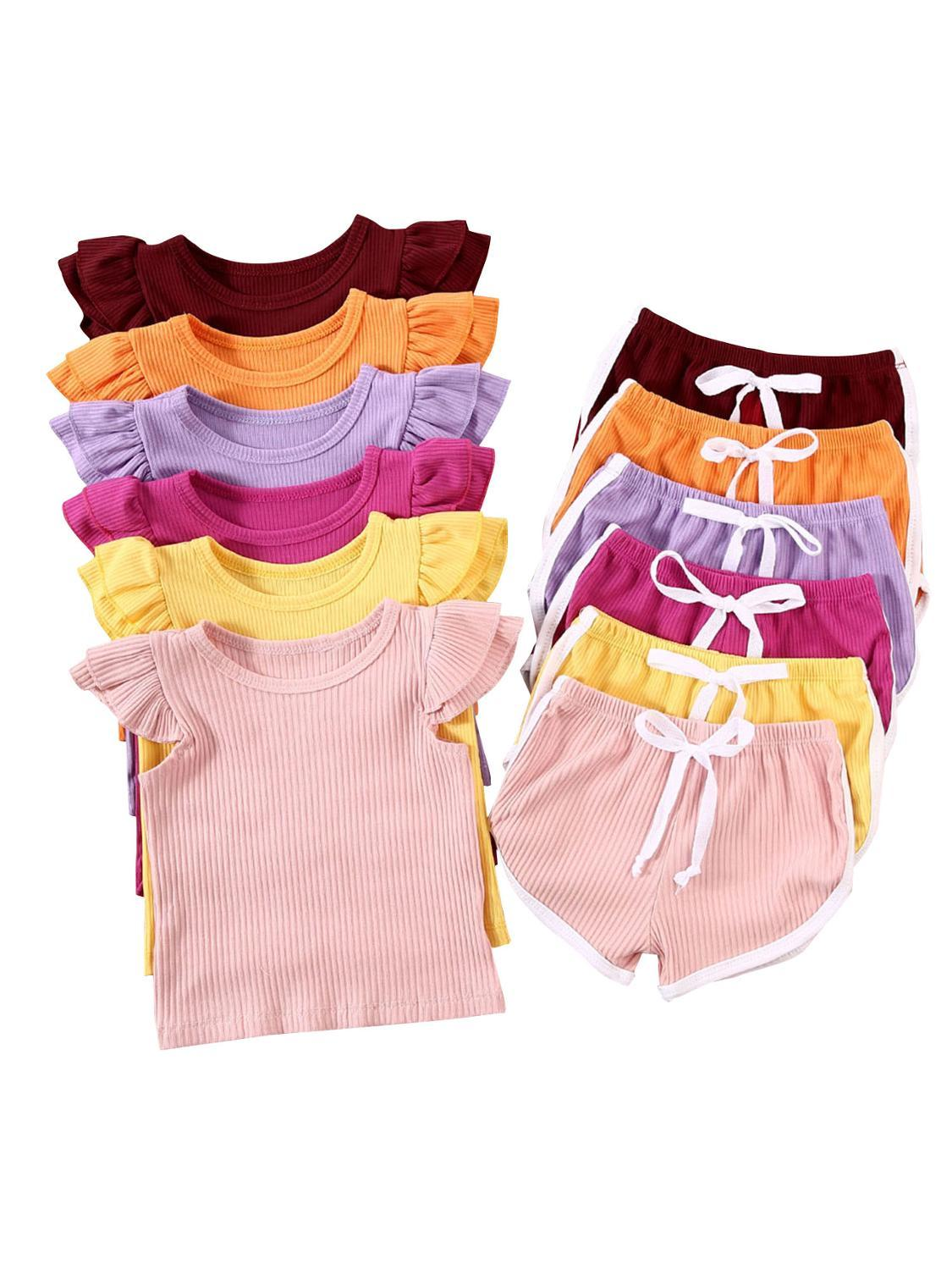 Summer Infant Baby Girls Boys Clothes Sets Ruffles Short Sleeve Pullover T Shirts Shorts Solid Outfits 2020 New