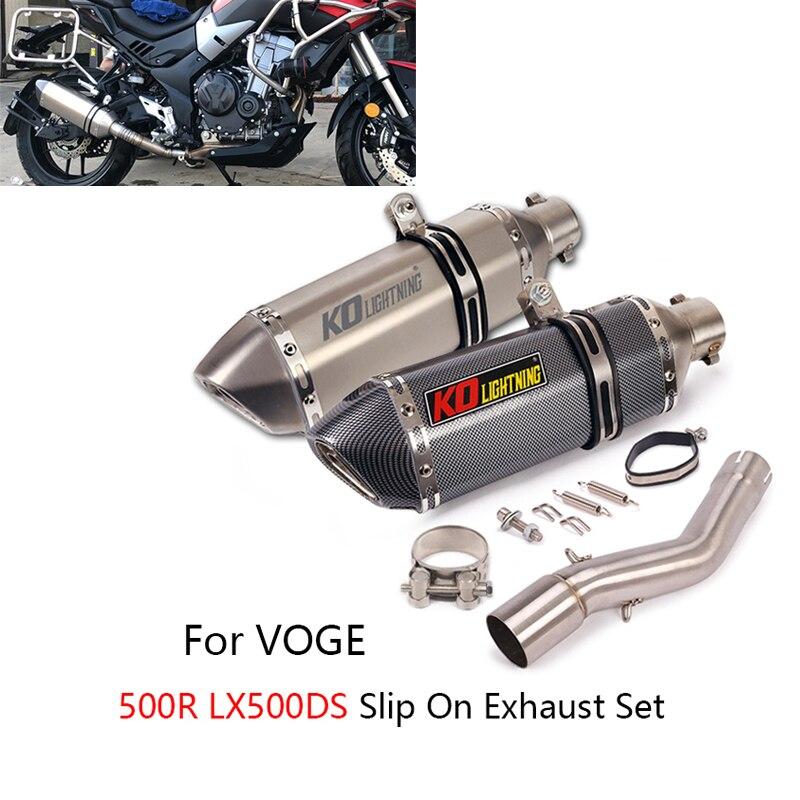 الانزلاق على العادم مجموعة ل Voge LX500R دراجة نارية العادم الأنابيب 51 مللي متر الخمار الهروب الأوسط لينك الأنابيب الاحتياطي محفز