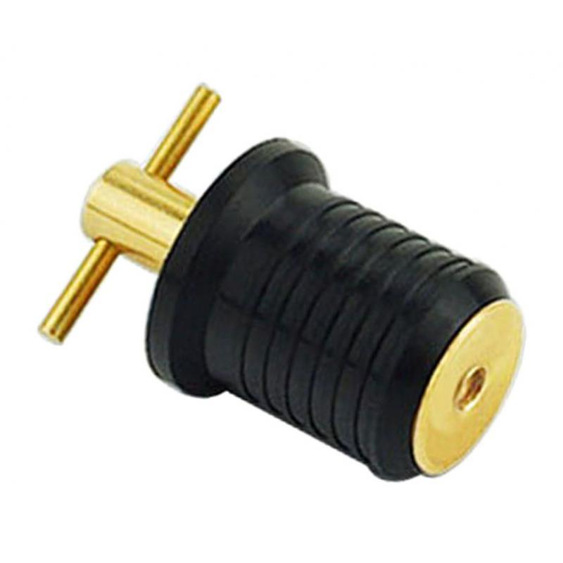 Latón + casco de goma para yate/Livewell/Baitwell, tapón de drenaje giratorio, enchufe giratorio
