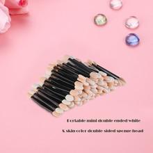 100pcs Disposable Dual Sided Eyeshadow Brush Sponge Tipped Oval Makeup Applicator (Black)