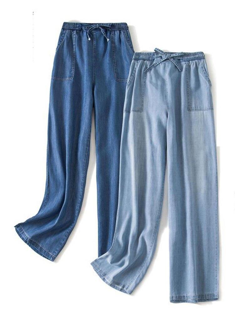 Женские джинсы из тенсела, широкие брюки, женские тонкие прямые брюки, женские модные джоггеры