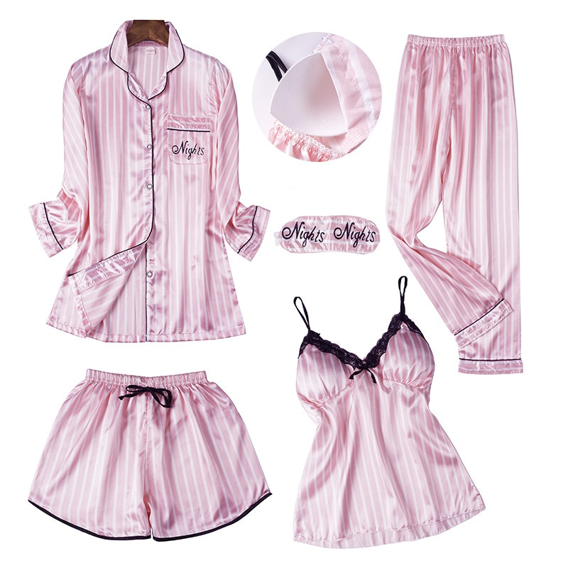 Printemps été femmes à manches longues imprimé pyjamas ensembles avec pantalon Sexy Spaghetti sangle Pijama 5 pièces Homewear avec coussinets de poitrine