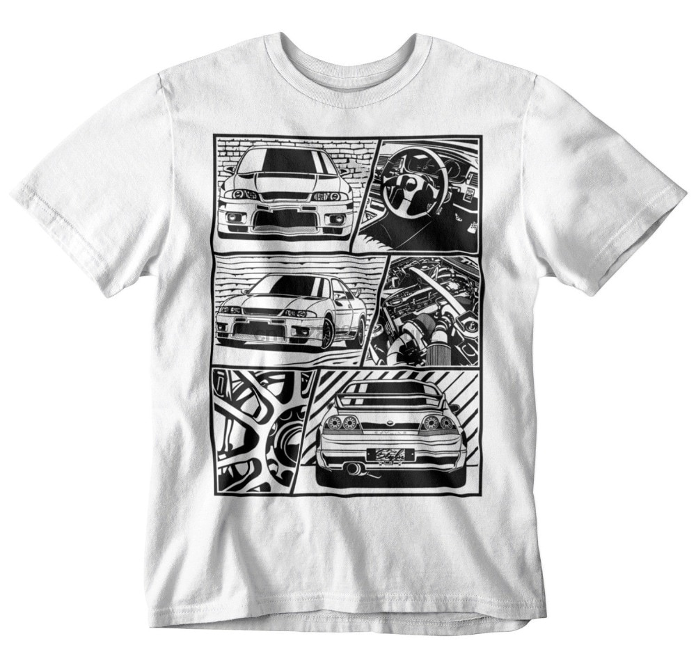 2020 Fashion Summer T Shirt GTR R33 Fragment T-Shirt White S-3XL JDM Boost Turbo Japanese car fans 35 34 32 R35 Tee Shirt