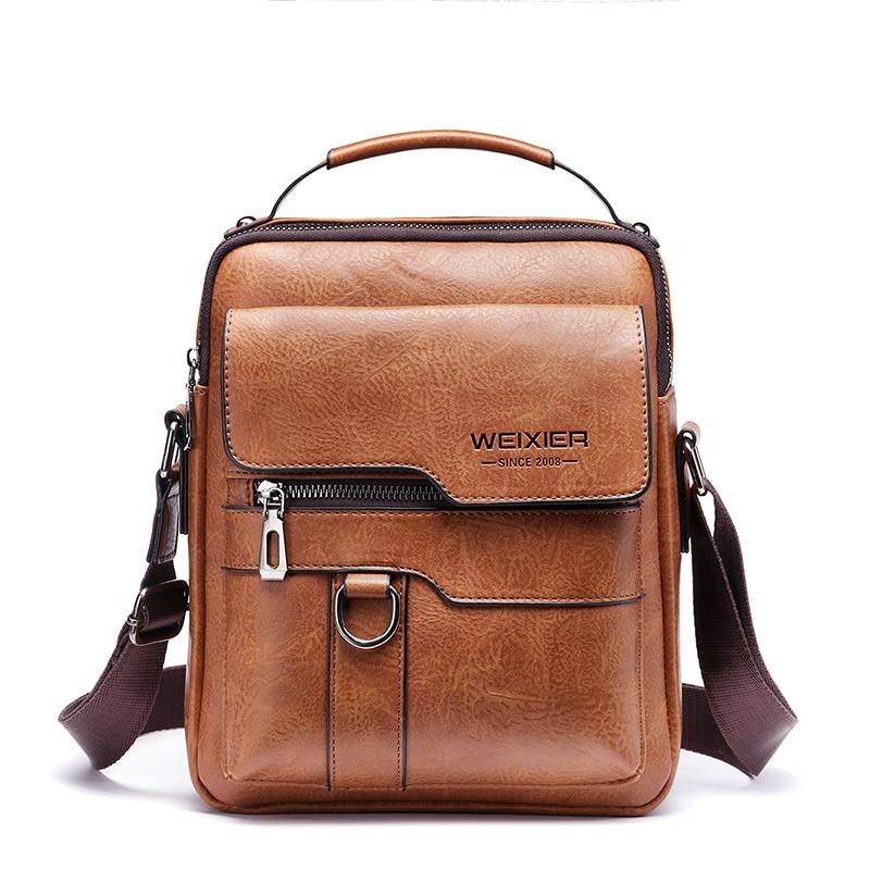 New Arrival Fashion Vintage Business PU Leather Men Messenger Bags Promotional Small Crossbody Shoulder Bag Casual Man Bag