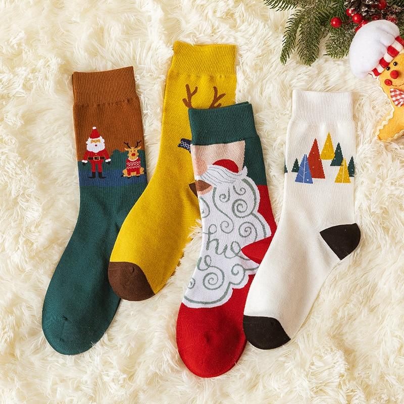 2020 New Christmas Socks Women Funny Santa Claus Christmas Tree Snowman Bell Elk Cotton Happy Socks Men Harajuku New Year Sokken недорого