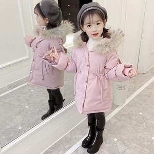 Windproof Winter Kids Cotton-padded Clothes High Quality Girls Coat Fashion Children Outwear Black Girl Clothing Outwear 6 Sizes