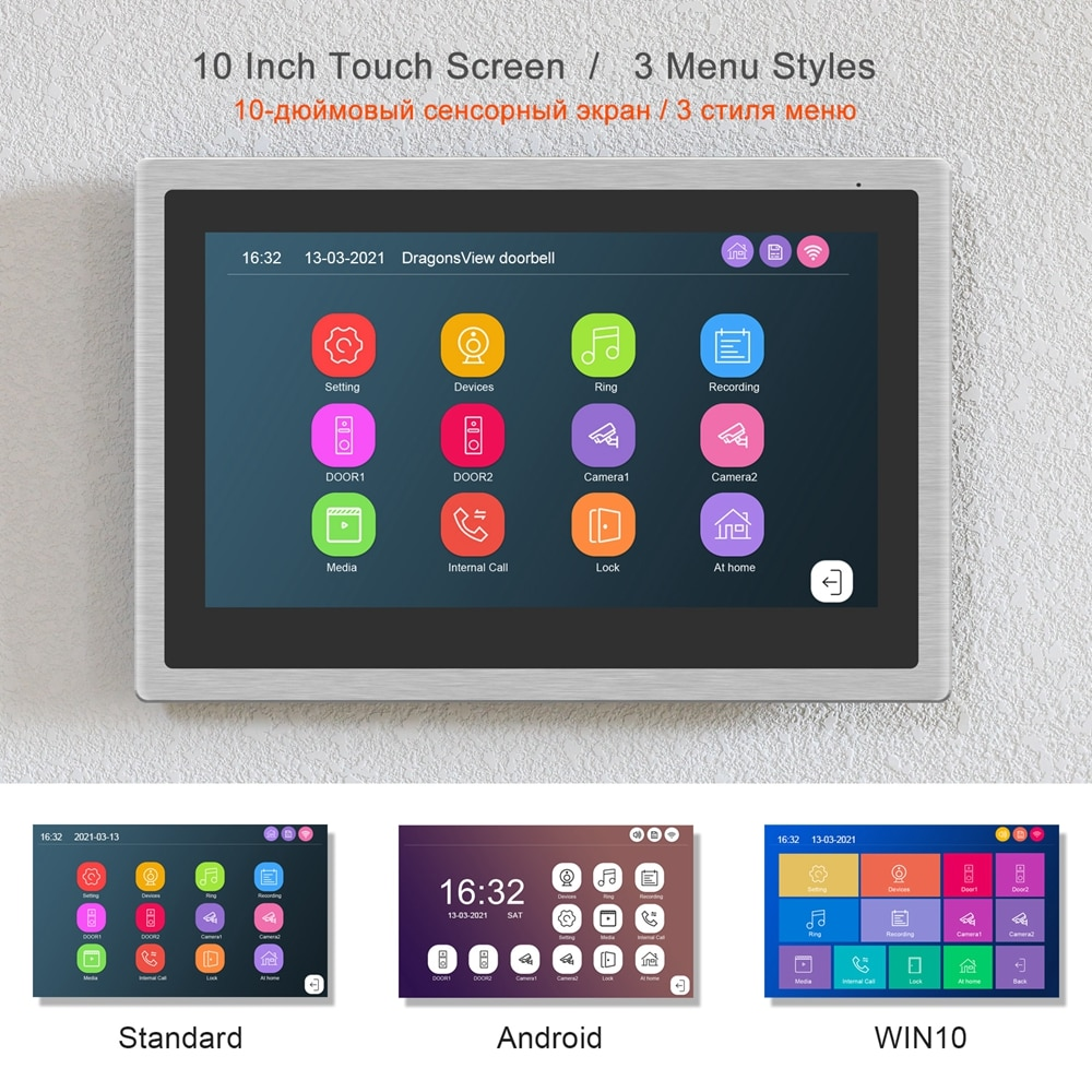 TUYA WIFI Video Intercom for Home Video Door Phone 10 Inch Touch Screen Monitor Works 2 Doorbells 2 Cameras  Smart Phone Control enlarge