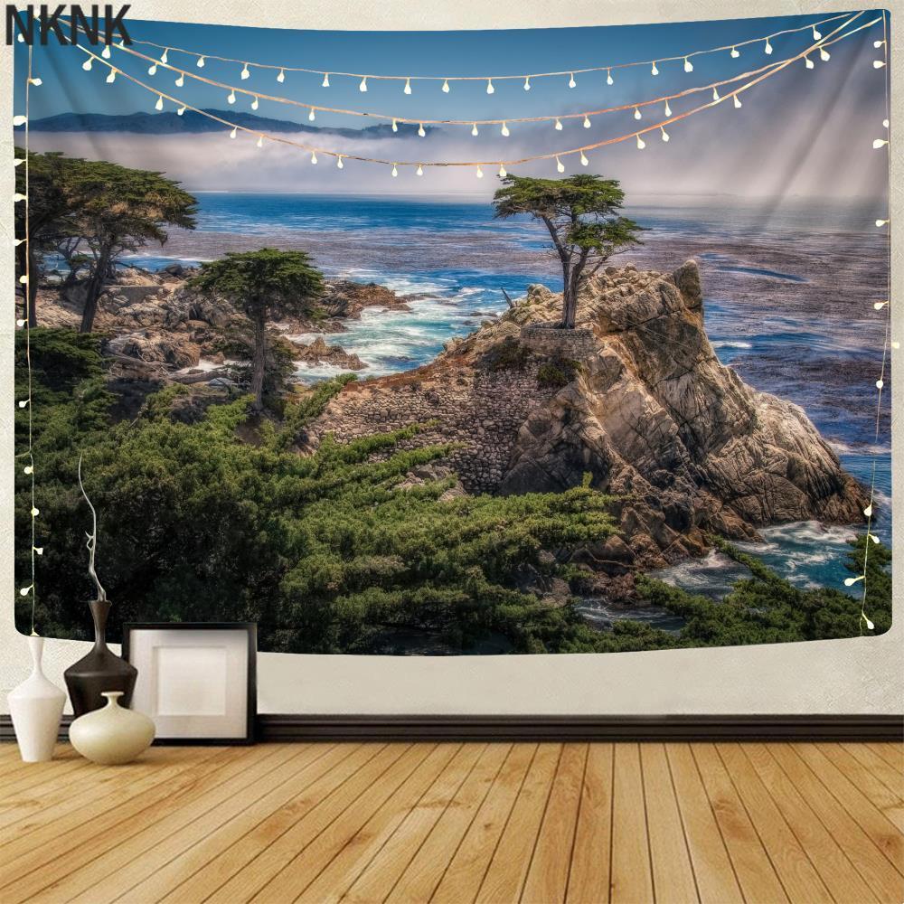 Брендовый пляжный гобелен NKNK, горы, гобелены, деревья, настенный гобелен, пейзаж, тенты, мандала, настенная подвеска, мандала, хиппи, Новинка