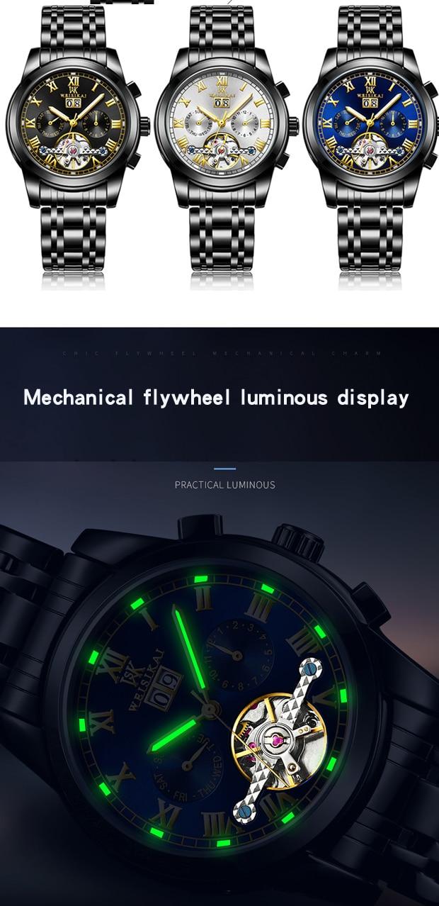 relógio mecânico automático banda de aço relógio