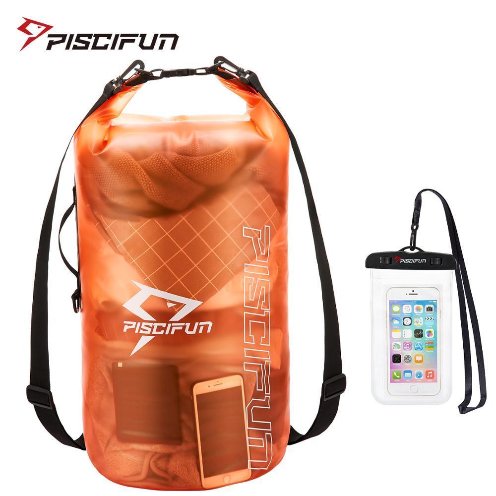 Piscifun 2l/5l/10l/20l/30l/40l impermeável leve saco seco mochila + caso do telefone para a pesca natação rafting surf