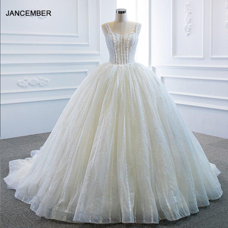 RSM66960 White Elegant Transparent Lace Draped Wedding Dress Backless Flowers Print Embellished 2021 Bridal Skirt