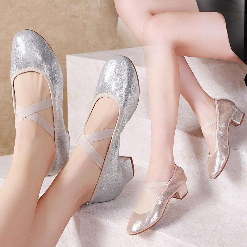Nuevos zapatos de baile DMZ6 de tacón bajo, zapatos de baile cuadrados para mujer, zapatos de baile latino, zapatos sencillos de boca superficial
