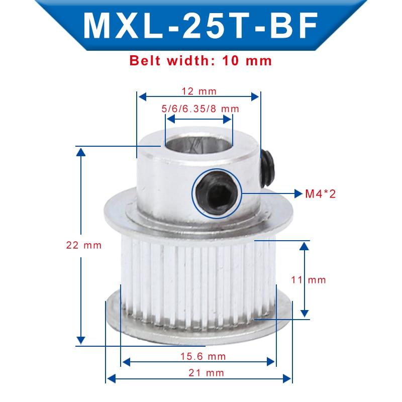 2 uds. MXL-25T diámetro de la polea de distribución 5/6/6.35/8/10mm Anchura de la ranura de la rueda de la polea 11 mm combina con la correa de ancho 10 mm MXL para impresoras 3D