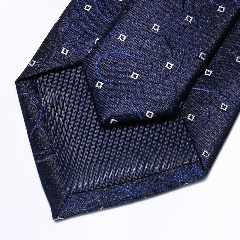 High Quality 2020 Designer New Fashion Navy Blue Vine Wave Point 8cm Ties for Men Necktie Business Formal Suit with Gift Box