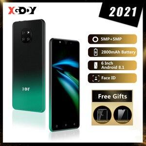 Телефон Android 3G смартфон 1 Гб 8 Гб мобильный телефон 6 дюймов Разблокировка мобильного телефона четырехъядерный Dual SIM 5MP Face ID XGODY MATE 20 New