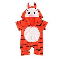 Bebê meninos meninas de manga curta dos desenhos animados animal tigre com capuz hoodie macacão topos macacão dos desenhos animados roupas onesies 0-2y