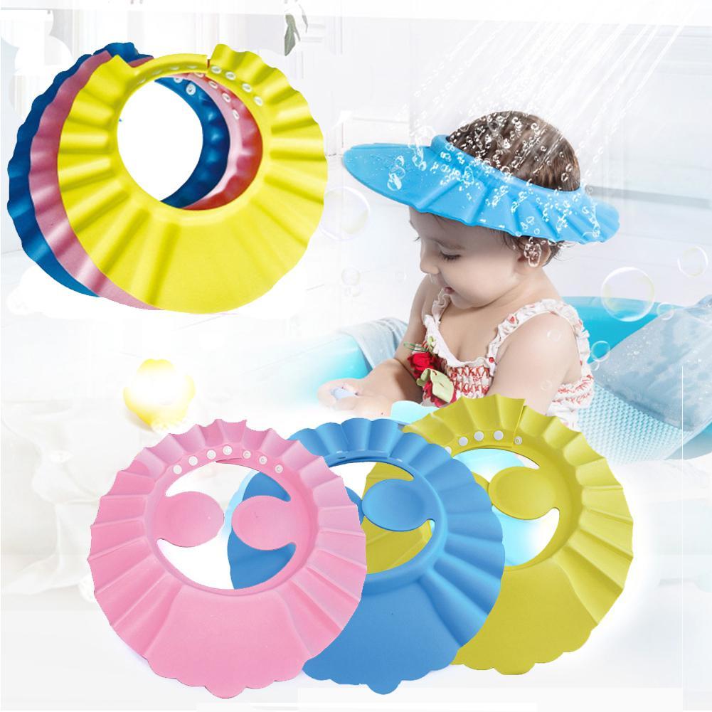 Kuulee boné de banho ajustável para crianças, proteção de shampoo
