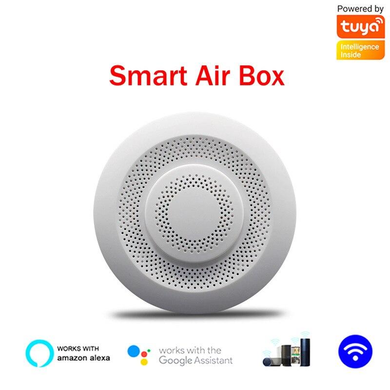 Tuya Wifi المنزل الذكي صندوق الهواء C02 ثاني أكسيد الكربون إنذار كاشف كاشف الفورمالديهايد VOC الاستشعار درجة الحرارة الرطوبة