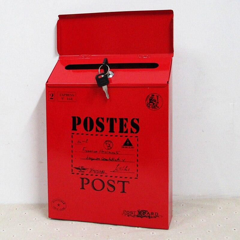 Buzón de casa, buzón de correo de jardín, buzón de correo con cerradura de llave, buzón de letras, patio exterior, puerta, porche, decoración colgante, Rojo