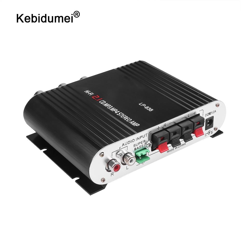 kebidumei Mini Hi-Fi Stereo Amplifier For LVPIN 12V 200W MP3 Car Radio Audio power amplifier LP-838 2.1CH for House Super Bass
