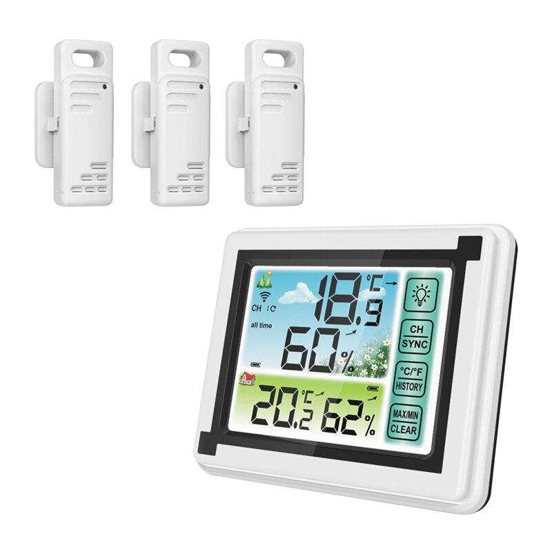 درجة الحرارة الإلكترونية مقياس الرطوبة شاشة الكريستال السائل مقياس حرارة خارجي داخلي ساعة حائط الرطوبة مع 3 الارسال