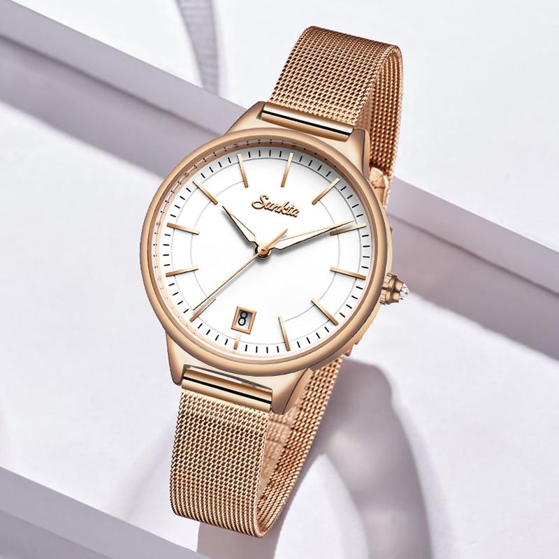 2021 SUNKTA Women Fashion Gold Quartz Watches Lady Casual Waterproof Simple Wristwatch Gift for Girls Wife Saat Relogio Feminino enlarge