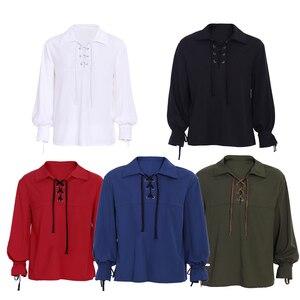 Men's Scottish Jacobite Ghillie Kilt Highland Shirt Long Sleeve Lace Up Medieval Renaissance Pirate Viking shirt Costume