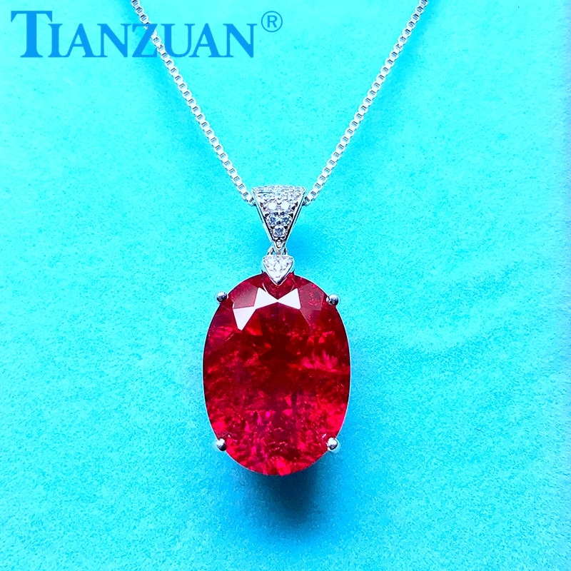 Artificial ruby 14*19mm 18ct main stone with inclusions red color 925 silver Fashion oval shape Jewelry for Pendant Necklace