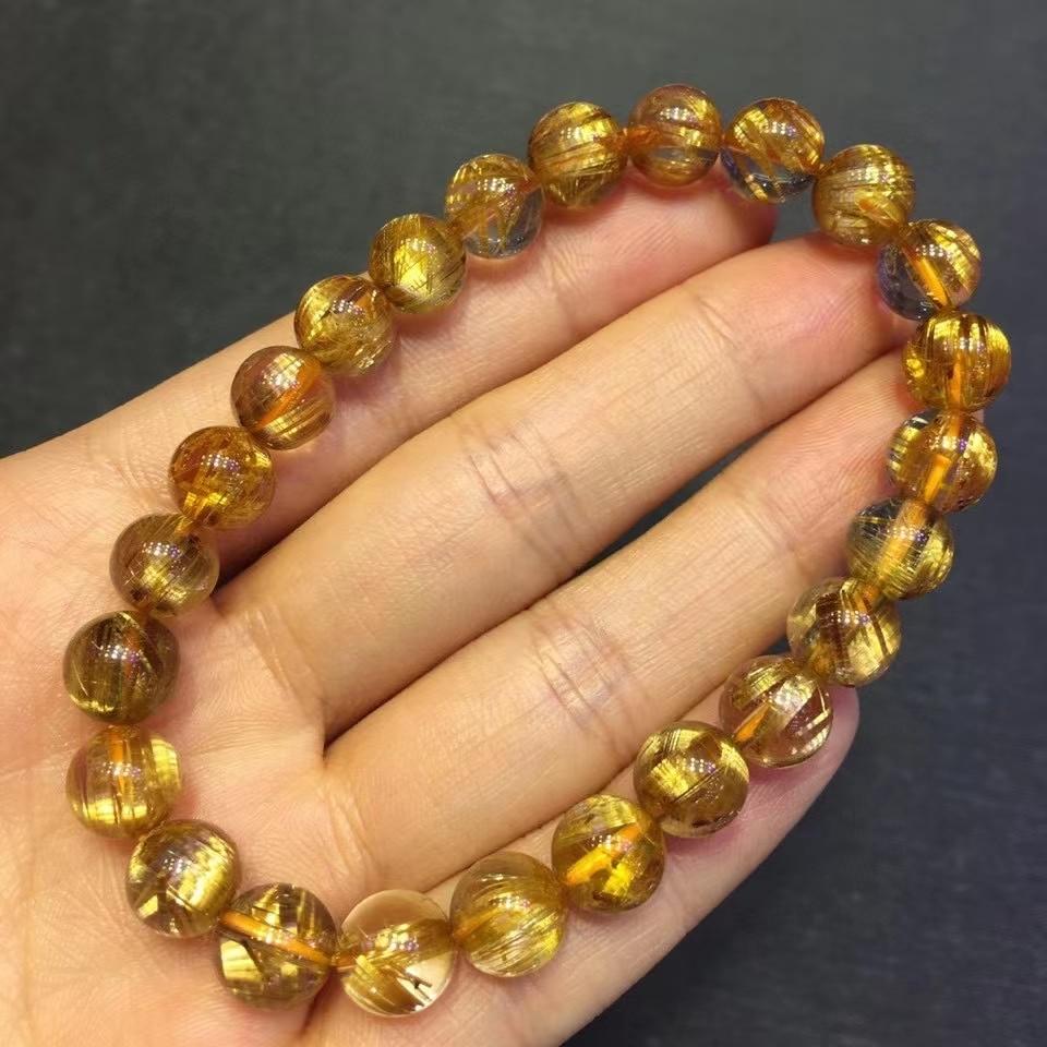 Promo Natural Gold Rutilated Titanium Quartz Woman Bracelet Cat Eye Clear Round Beads 8mm Jewelry From Brazil AAAAAAA