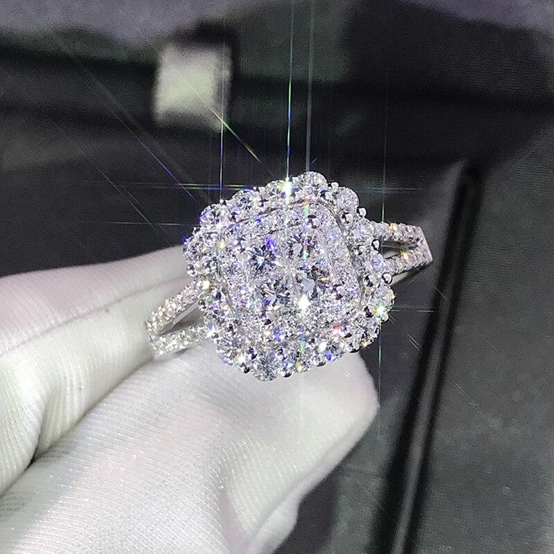 Женское серебряное кольцо с блестящим большим камнем, обручальное блестящее кольцо для вечеринки, 2019