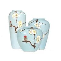 jingdezheng cherry blossom bird handpainted vase ceramic flower pot