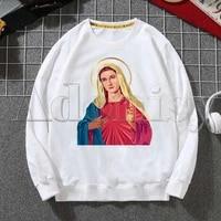virgin mary hoodies sweatshirts men woman fashion white color autumn winter hip hop hoody male brand casual tops