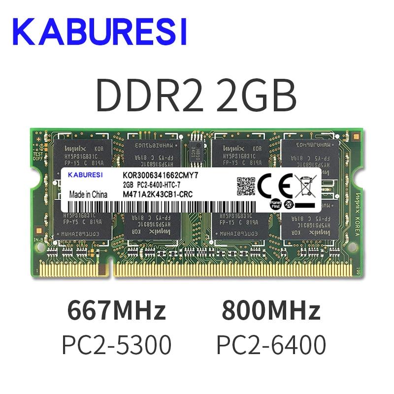 KABURESI 4GB(2x2GB)  DDR2 2GB 800MHZ 667MHZ 200pin Laptop Memory ram 2x Dual-channel PC2-6400 PC2-5300 Notebook SODIMM RAM 1.8v