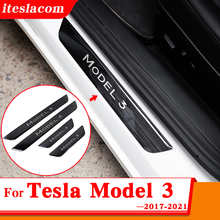 2021 New Tesla Car Door Sill Stainless steel Anti-scratch Plates For Tesla Model 3 Accessories Car Threshold Protection stickers