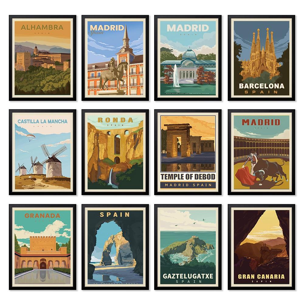 Carteles de viaje Vintage de España, Madrid y Barcelona, pinturas en lienzo,...