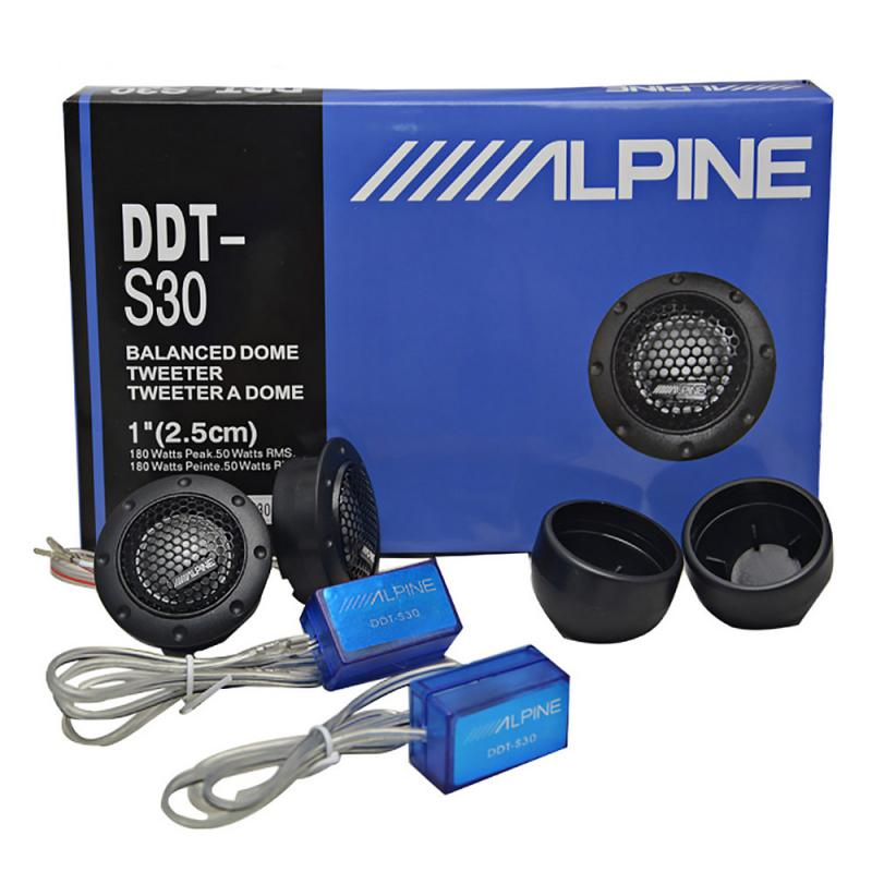2X ALPINE DDT-S30 Car Stereo Speakers Music Soft Dome Balanced Car Tweeters 180W Car Audio Silk Film