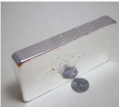 الفضة النقية 9999 المواد الخام الفضة سبائك الفضة سيلفر ignot 500g/1000g