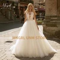 mngrl new simple wedding dress backless sleeveless design chiffon lace bride dresses princess dress plus size tailor made